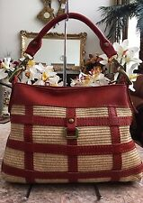 New  Fossil Fifty Four Leather & Straw Purse Hand Bag