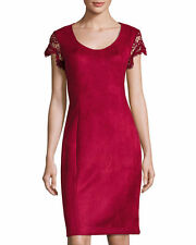 NWT $150. Nanette Lepore Cap-Sleeve Faux-Suede Sheath Dress SZ  8 in cranberry