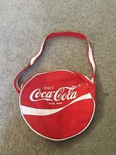 "Nice Coca-Cola Coke brand red white round canvas tote shoulder bag 10"" circle"