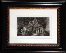 """Antique Engraving """"The Muses and the Pierides"""" Late 1880s Photogravure Art, OBO"""