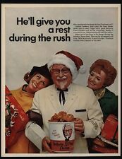 1968 KENTUCKY FRIED CHICKEN - COLONEL SANDERS in Christmas Santa Hat VINTAGE AD