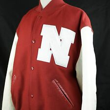 Holloway Wool and Leather Varsity Jacket Red & White Letterman N Sz XLARGE
