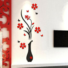 DIY Vase Flower Tree Crystal Arcylic 3D Wall Stickers Decal Home Decor H