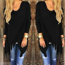 Fashion Womens Loose Casual Long Sleeve Tassel Shirt Blouse Tops T-Shirt Cotton