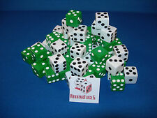 NEW 6 ASSORTED OPAQUE DICE 16MM GREEN AND WHITE, 2 COLORS 3 OF EACH COLORS