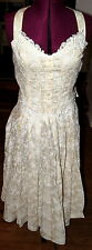 Scott McClintock Cream Cotton Dress  Lace Pin Pleats Bow Straps Buttons Size 6