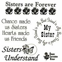 """5 Different Sister Sayings Black 1 1/4"""" to 4 1/2""""  Waterslide Ceramic Decals Tx"""