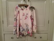 Ladies Ted Baker Blouse / Top  Floral Pink  Size 2 (10-12) Excellent Condition