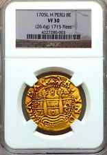 PERU 8 ESCUDOS 1705 GOLD DOUBLOON COB COIN 5 GRADED! LIKELY FLEET SHIPWRECK 1715
