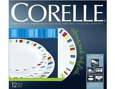 12-pc Corelle MEMPHIS DINNERWARE SET Dinner Lunch PLATES 15-oz Rimmed BOWLS *New