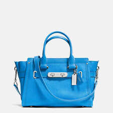 """NWT Coach Pebbled Leather Swagger Carryall 27"""" Handbag Azure #34816 $450"""