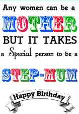Happy Birthday Step-MOTHER / Step-MUM card PID123 A5 Personalised Greeting Card