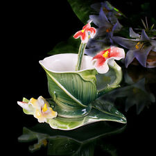 Porcelain Green Canna Coffee Expresso Set Tea Set Milk Cup Saucer With Spoon