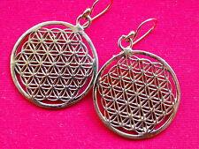 Flower Of Life Brass Earrings 30mm New Age, Sacred Geometry (E26)