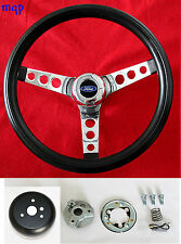 "14 1/2""  Bronco F100 F150 F250 F350 Truck Black and Chrome Steering Wheel"