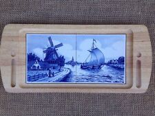 "Delft Tile Cheese Cracker Cutting Serving Board Dutch Holland Scenes 17.5"" x 8"""