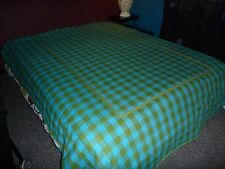 Vtg Mid Century Sears Twin Turquoise Blue Avocado Green Checked Bedspread