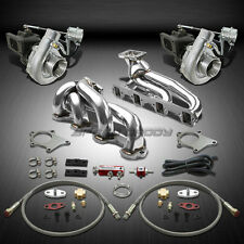 T04 .63AR 500+HP 8PC TWIN TURBO CHARGER+MANIFOLD KIT FOR 87-94 FORD MUSTANG 5.0L