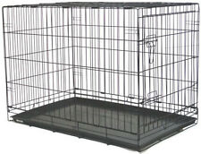 "NEW 48"" Extra Large Folding Pet Dog Cage Crate Kennel With Plastic Pan Black-547"