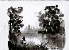 "Original Cambodian Cultural Painting done in Ink with Oil  14"" x 10""        CI02"