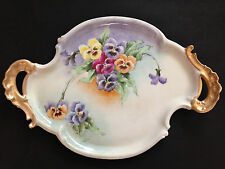 "17.5"" Antique T&V Limoges Venice1896 Plate Tray Hand Painted Pansies Artist Sign"