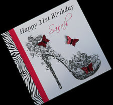 Personalised Handmade Zebra Print Shoe Birthday Card 16th,18th,21st,30th,50th