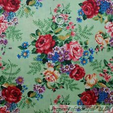 BonEful Fabric FQ Cotton Quilt VTG Green Red Pink Flower Rose Leaf L Shabby Chic