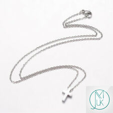 Modern Stainless Steel Silver Tone Small Cross Necklace 18'' with Gift Pouch