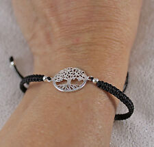925 solid sterling silver New Tree of Life knotted on sliding bracelet