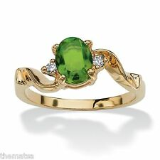 WOMENS 14K GOLD PLATED BIRTHSTONE PERIDOT AND CRYSTAL RING SIZE  5 6 7 8 9 10