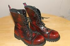 10 Hole Gothic Punk Burgundy Leather Alpha Ranger Boots With Steel Toe Size 6