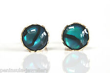 9ct Gold Abalone Paua Shell stud Earrings Gift Boxed Made in UK