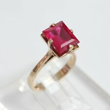 ART DECO SOLID 10K GOLD & 3+ ctw RUBY RING, 3.9 gms, size 6, Signed B&L, EXC