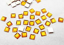 200pcs 6*6mm Flat Back Square Faceted Rhinestones Acrylic Craft Jewelry Yellow1