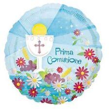 PALLONCINO MYLAR Azzurro PRIMA COMUNIONE, addobbi eventi festa 1^ comunione