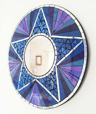 Round mosaic purple & silver wall mirror 40cm hand made in Bali-NEW