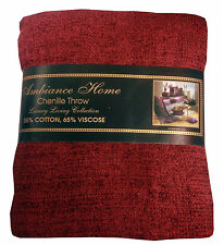 CHENILLE THROW BURGUNDY WINE 35% COTTON 65% VISCOSE WOVEN TASSEL ENDS 130 x 180