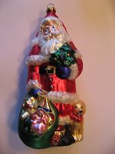 "Rare Vintage Santa with Bag and Dog Figural Glass Christmas Ornament 7""T x 3.5""W"
