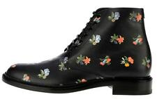 NEW YSL SAINT LAURENT LOLITA BLACK LEATHER FLORAL LACE-UP ANKLE BOOTS SHOES 37.5