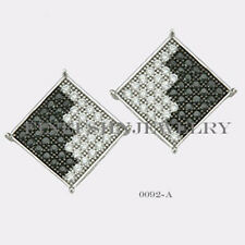 Sterling Silver 925 Square Stud Screwback Earrings with B&W CZ (9.5mm) #0092A