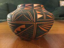 Acoma Pottery Vase Clay Jar signed T (Terrance) M Chino New Mexico