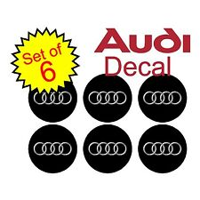 Audi 75mm Black 6 pc Replacement Decal Sticker center cap hub wheel logo a4 a7