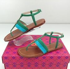 Tory Burch Bar Logo Flat Sandal Teal Emerald Green Stone 5 M T Strap Thong