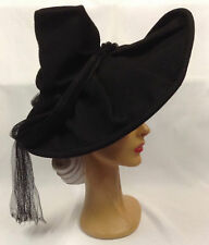 40s OTT Most Amazing Black Wide Pleat Brim Felt Hat with High Crown & Draped Net