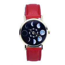 Women Fashion Watch Date Lunar Eclipse Stainless Steel Leather Analog WristWatch