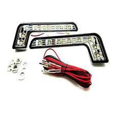 1 x Pair 8 LED 6000k White L Shape DRL Daytime Running Lights - Mercedes
