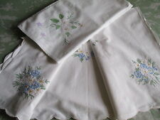 Vintage French Tea Tablecloths, Top Cloths  x 2 Hand Embroidered