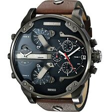 Diesel Men's DZ7314 The Daddies Series Stainless Steel Watch With Brown Leather