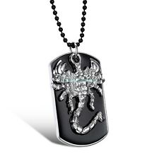 Black&Silver Stainless Steel Army Style Dog Tag Scorpion Pendant Men's Necklace