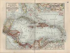 Landkarte map 1912: WEST-INDIEN UND MITTEL-AMERIKA. Maßstab: 1 : 12.000 000